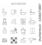 bathroom line icon set. a... | Shutterstock .eps vector #1336671887