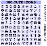 100 cute icons | Shutterstock .eps vector #133667261