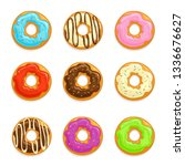 set of donuts with chocolate... | Shutterstock .eps vector #1336676627