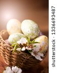 easter eggs with flower... | Shutterstock . vector #1336693487