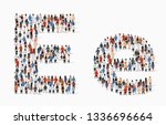 large group of people in letter ... | Shutterstock .eps vector #1336696664