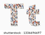 large group of people in letter ... | Shutterstock .eps vector #1336696697