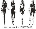 stylish silhouettes of... | Shutterstock .eps vector #133670411