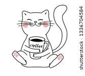 Cute Kawaii Cat With Coffee ...