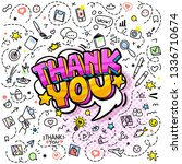 thank you lettering in pop art... | Shutterstock .eps vector #1336710674