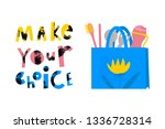 Eco bag with lettering illustrations set. Make your choice quote. Zero waste. Plastic free alternative. Recyclable material cartoon vector clipart. Environment protection. Eco friendly packaging