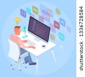 flat design isomentric... | Shutterstock .eps vector #1336728584