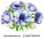 watercolor anemone bouquet for... | Shutterstock . vector #1336739351
