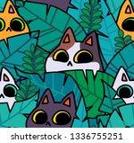 seamless cat pattern. cartoon... | Shutterstock .eps vector #1336755251