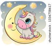 cute cartoon unicorn in a pilot ... | Shutterstock .eps vector #1336758617