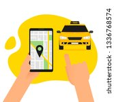 ordering online taxi on... | Shutterstock .eps vector #1336768574