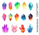 colorful assorted crystals set. ... | Shutterstock .eps vector #1336774997