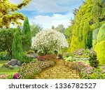 Beautiful Garden. Garden Path...