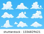vector cartoon clouds isolated... | Shutterstock .eps vector #1336829621