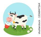 farm cow with milk bucket.... | Shutterstock .eps vector #1336847264