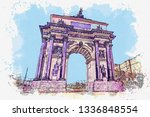 watercolor sketch or... | Shutterstock . vector #1336848554