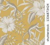 tropical vintage beige monkey ... | Shutterstock .eps vector #1336873424