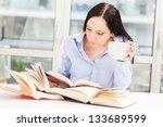 photo female student learning... | Shutterstock . vector #133689599
