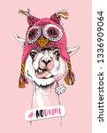 funny poster. portrait of llama ... | Shutterstock .eps vector #1336909064