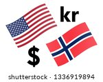 USDNOK forex currency pair vector illustration. American and Norwegian flag, with Dollar and Krone symbol. - stock vector
