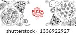 italian pizza and ingredients... | Shutterstock .eps vector #1336922927