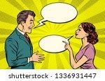 woman and man talking. pop art... | Shutterstock .eps vector #1336931447