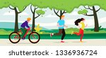 exercise people in the park for ... | Shutterstock .eps vector #1336936724