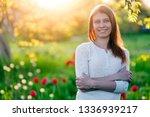 beautiful young woman  standing ... | Shutterstock . vector #1336939217