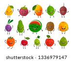 set of funny fruits. fresh food ... | Shutterstock .eps vector #1336979147