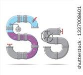 pipe letter. alphabet in... | Shutterstock .eps vector #1337008601