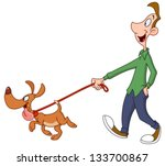 Stock vector man walking dog 133700867