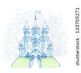 Doodle Sketchy Castle Vector...