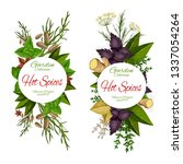 herbs and spices  seasonings...   Shutterstock .eps vector #1337054264