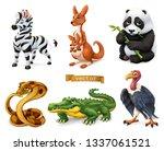 funny animals. zebra  kangaroo  ... | Shutterstock .eps vector #1337061521