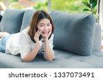 woman using smartphone shopping ... | Shutterstock . vector #1337073491