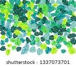 teal green tropical jungle... | Shutterstock .eps vector #1337073701