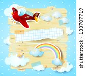 red airplane and copy space ... | Shutterstock .eps vector #133707719