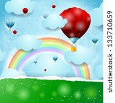 fantasy background with rainbow ... | Shutterstock .eps vector #133710659