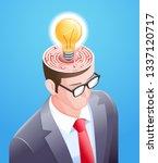 brain maze with light bulb in... | Shutterstock .eps vector #1337120717