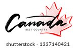 hand lettering canada logo with ... | Shutterstock .eps vector #1337140421