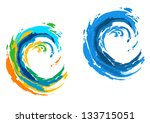 two colorful waves for serfing... | Shutterstock .eps vector #133715051