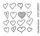 set of 12 hand drawn heart.... | Shutterstock .eps vector #1337150957