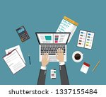 top view of workplace background | Shutterstock .eps vector #1337155484