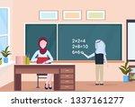 muslim arabian teacher with... | Shutterstock .eps vector #1337161277