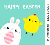 happy easter bunny holding... | Shutterstock .eps vector #1337164337