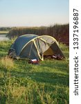 landscape with a tent with a... | Shutterstock . vector #1337196887