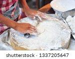 trader is preparing bread for... | Shutterstock . vector #1337205647