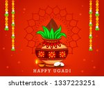 illustration of happy ugadi  ... | Shutterstock .eps vector #1337223251
