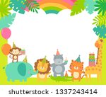 cute safari cartoon animals... | Shutterstock .eps vector #1337243414