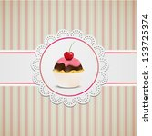 cupcake with pink creme on lace ...   Shutterstock .eps vector #133725374
